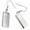 Bezel Handmade Earring Rectangle 21x11x2mm Silver Plated Matte